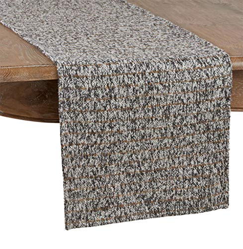 Fennco Styles Striped Tweed Table Runner – Grey Table Cover for Home Décor, Dining Table, Banquets, Holidays and Special Occasions