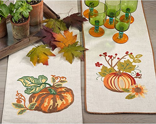 Fennco Styles Embroidered Pumpkin Collection Thanksgiving Table Runner (Pumpkin)