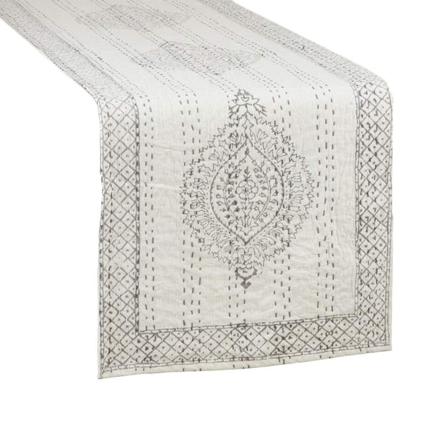 Fennco Styles Unique Taj Kantha Stitch Cotton Table Runner 14 x 72 Inch