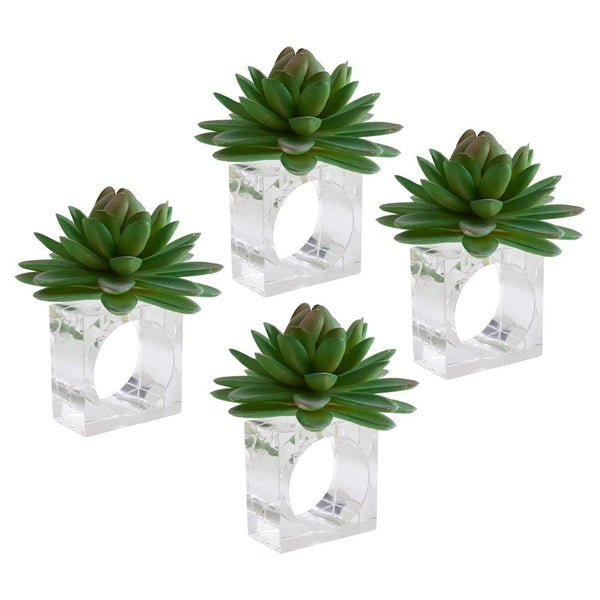 Modern Succulent Design Decorative Napkin Rings, Set of 4