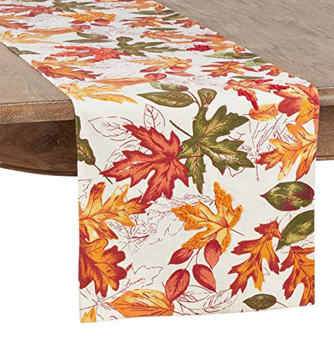 Fennco Styles Warm Embroidered Autumn Leaves Cotton Tablecloth for Thanksgiving, Banquets, Family Gathering and Special Occasion