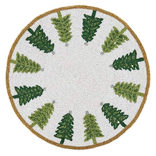 "Fennco Styles Hand Beaded Christmas Trees Holiday Placemat 15"" Round, 1-Piece - Green & White Table Mat for Banquets, Christmas, Special Events and Home Décor"