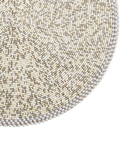 Fennco Styles Goa Collection Contemporary Pearl Glass Beaded 14 x 14 Inch Place Mat