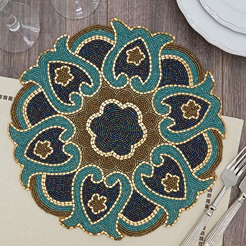 "Fennco Styles Hand Beaded Floral Cutwork Design Placemat 14"" Round, 1-Piece"