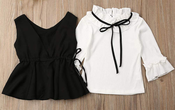 Little Girl Long Sleeve Ruffle Blouse, Vest and Pants 3pcs