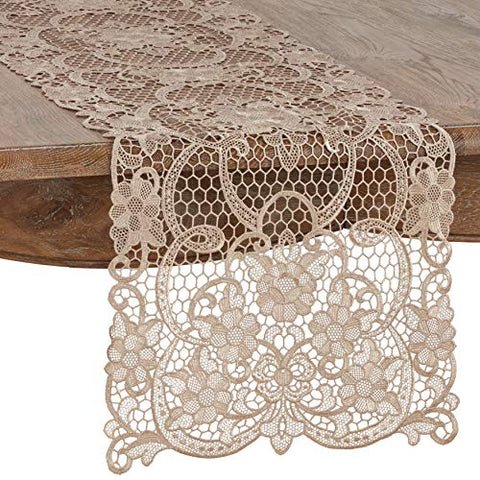 "Fennco Styles Exquisite All Over Floral Lace Table Runner 16"" W x 55"" L"