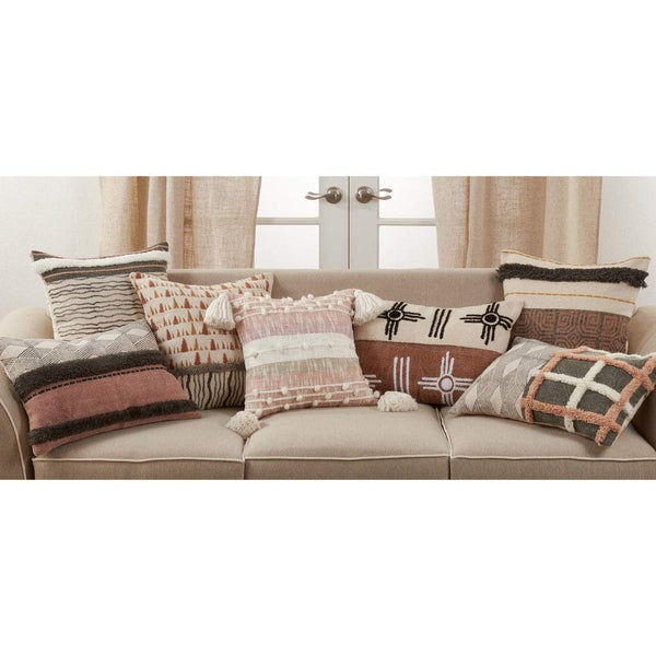Modern Stripe & Printed Tufted Cotton Decorative Throw Pillow