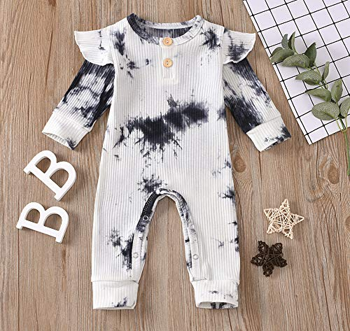 Styles I Love Baby Girls Autumn Winter Tie Dry Ruffle Long Sleeve Romper Ribbed Jumpsuit Outfit