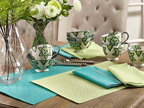 Fennco Styles Maxson Soild Shimmering Border Design Cotton Cloth Napkin and Placemat