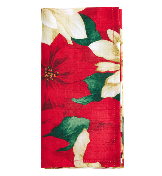 Fennco Styles Provencher Collection Classic Poinsettia Blossom Printed Table Linens – Multicolor Table Linens for Christmas Dinner, Family Gathering, Special Events and Home Décor