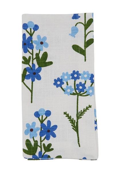 Fennco Styles Lovely Floral Print 100% Cotton Table Runner 14 x 72 Inch - Blue Flower Table Cover for Home Décor, Family Gathering, Spring Summer Events and Special Occasion