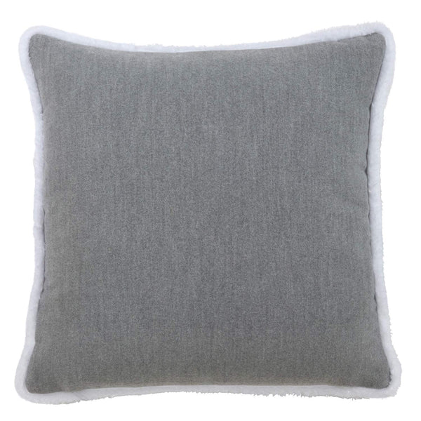 Doux NoëL Collection Contemporary Typography Chain Stitch Faux Fur Trim Pillow and Case