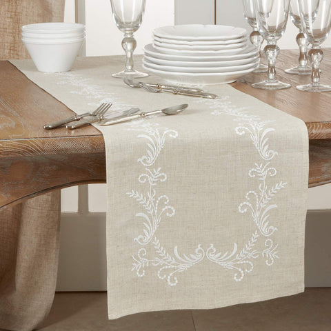Fennco Styles Delicate Embroidered Vine Linen Blend Table Linens Collection
