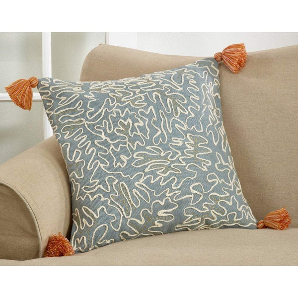 Tasseled Doodle Design Cotton 22 Inch Square Outdoor Throw Pillow