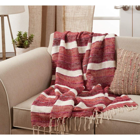 Fennco Styles Luxury Stripe Design Cotton 50 x 67 Inch Throw