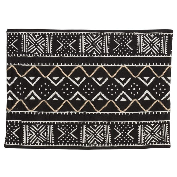 Fennco Styles Tribal Mud Cloth 100% Cotton Placemats 14 x 20 Inch, Set of 4 - Black Geometric Table Mats for Home Décor, Banquets, Family Gathering and Special Occasion