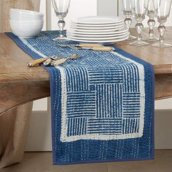 Fennco Styles Block Print Kantha Stitch 100% Cotton Table Runner 14 x 72 Inch - Indigo Blue Table Cover for Home Décor, Dining Table, Banquets, Holidays and Special Events