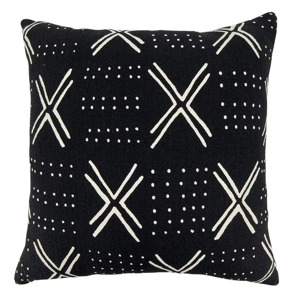 Fennco Styles Mudcloth Cotton Oversized Decorative Throw Pillow - 22 Inch Square White & Black Cushion for Couch, Sofa, Bedroom, Office and Living Room Décor