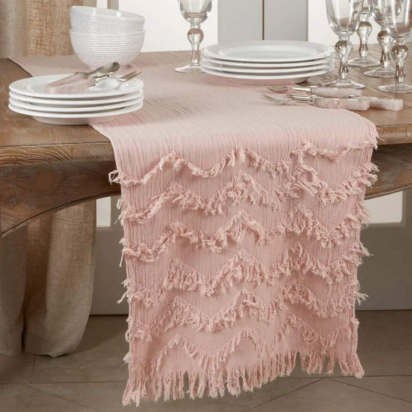 Chevron Modern Cotton Rectangular Table Runner with Fringe