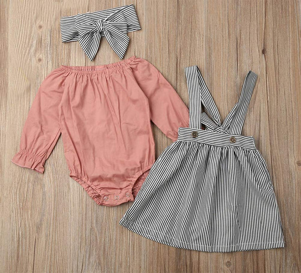 Baby Girl Long Sleeve Romper and Striped Suspender Skirt with Headband 3pcs Set