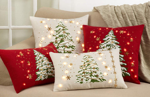 Christmas Tree Design with LED Light Decorative Throw Pillow