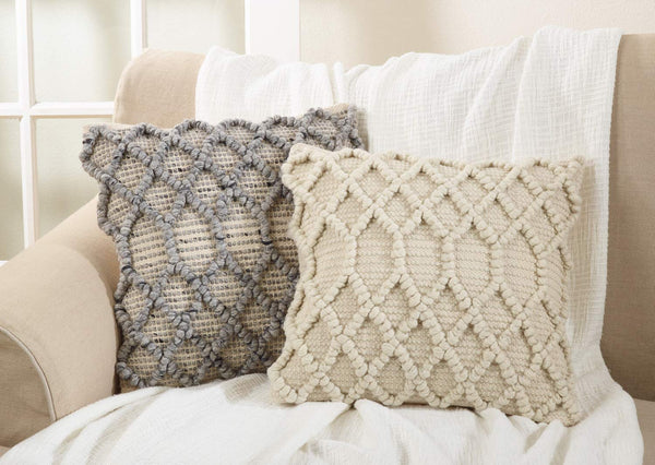 Diamond Weave Wool-Cotton Blend Down Filled Decorative Throw Pillow