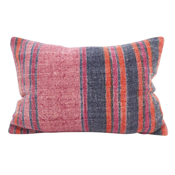 "Fennco Styles Bohemian Stripes Cotton Oblong Down Filled Decorative Throw Pillow - 12"" W x 20"" L Multicolor High-End Cushion for Couch, Sofa, Bedroom, Office and Living Room Décor"