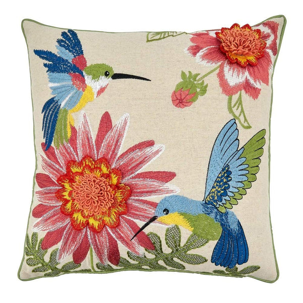 Embroidered Hummingbirds & Flowers Cotton-Linen Decorative Throw Pillow