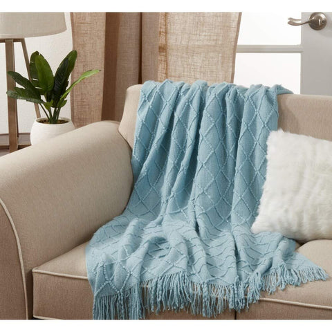 Fennco Styles Diamond Pleats Knit Modern Tassel 50 x 60 Inch Throw