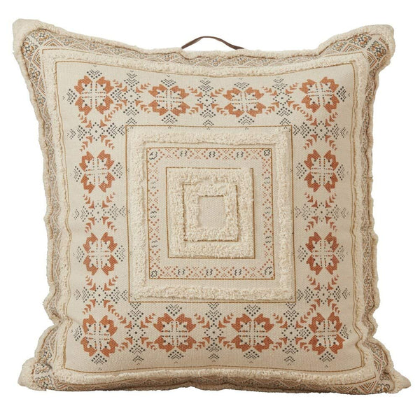 Decorative Printed Design Cotton Tufted Floor Throw Pillow
