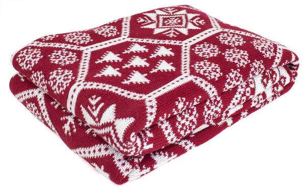 Fennco Styles Christmas Fair Isle Knitted Throw Blanket 50 x 60 Inch - Red Throw for Holiday, Couch, Home Decor and Winter Season