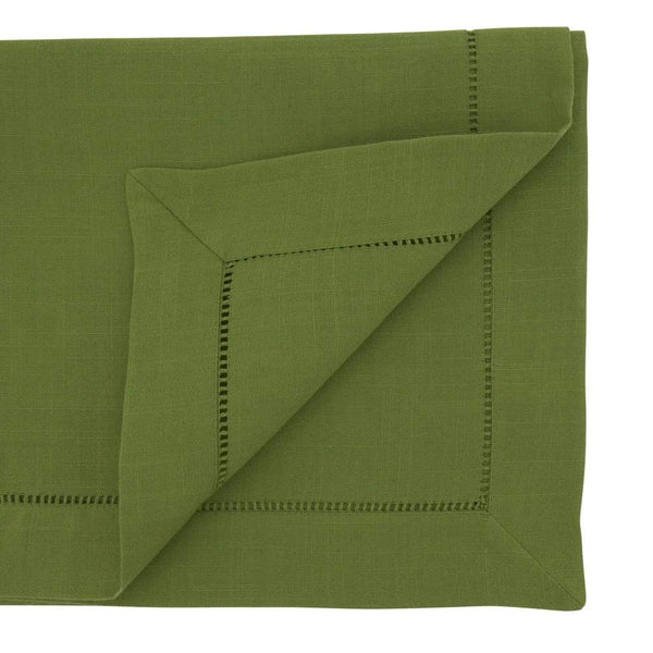 Fennco Styles Classic Hemstitch Design Table Linen Collection - Kiwi Green Cover for Home Décor, Dining Table, Banquets, Holidays and Special Occasions