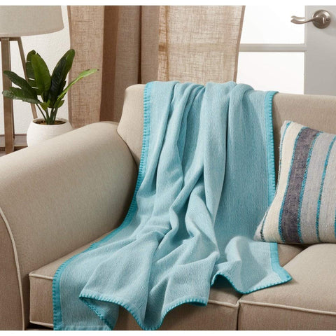 Fennco Styles Luxury Cotton Knit Whipstitch 50 x 60 Inch Throw