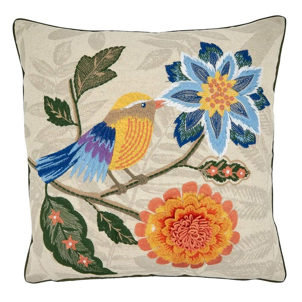 Embroidered Birds & Flowers Cotton-Linen Decorative Throw Pillow