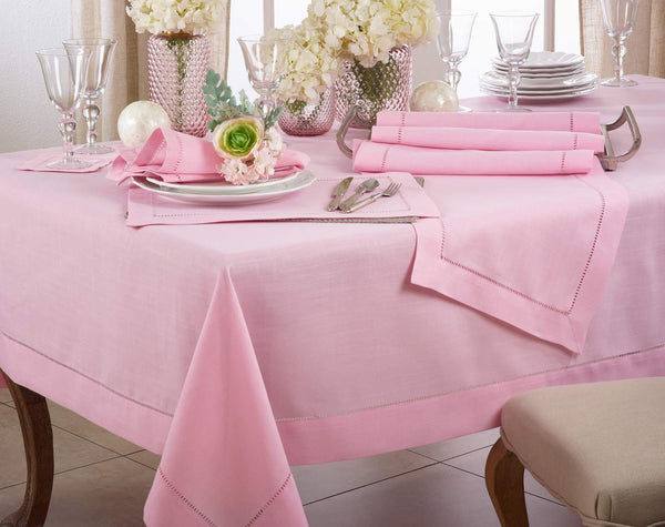 Fennco Styles Classic Hemstitch Border Tablecloth Linen Collection