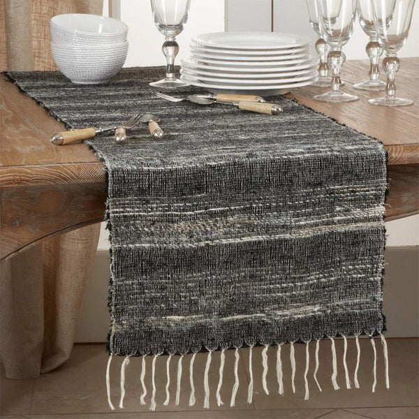 Fennco Styles Homey Cotton Table Runner with Stripes 16 x 72 Inch - Black Table Cover for Home Décor, Dining Table, Banquets, Holidays and Special Events