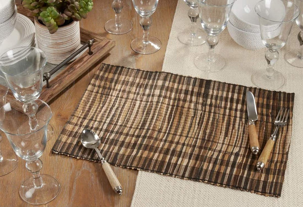 Fennco Styles Classic Striped Texture Water Hyacinth Table Linens Collection