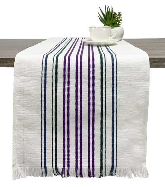 Fennco Styles Netural Stripes Fringe Canvas Cotton Table Runner 13 x 71 Inch - Multicolored Striped Table Cover for Home Décor, Dining Table, Farmhouse, Everyday Use and Special Occasion