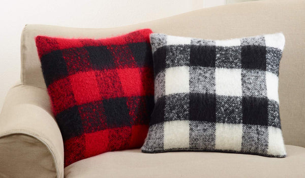 Buffalo Plaid Design Faux Mohair Down Filled Decorative Throw Pillow