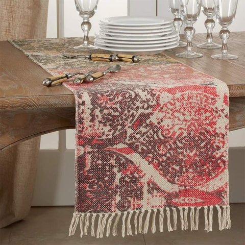 Fennco Styles Vintage Style Distressed 100% Cotton Rug Table Runner 16 x 72 Inch - Table Cover for Home Décor, Dining Table, Banquets, Holidays and Special Events