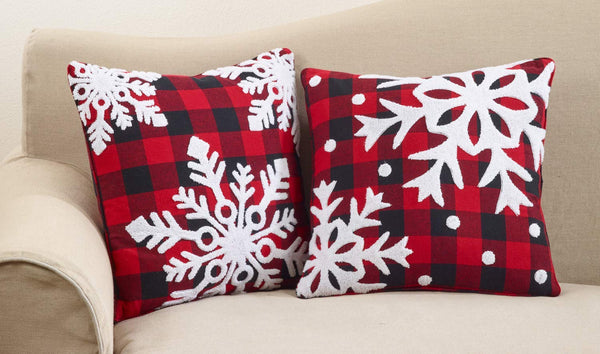 Buffalo Plaid Snowflake Decorative Throw Pillow with Down Filled Insert 18 x 18 Inch