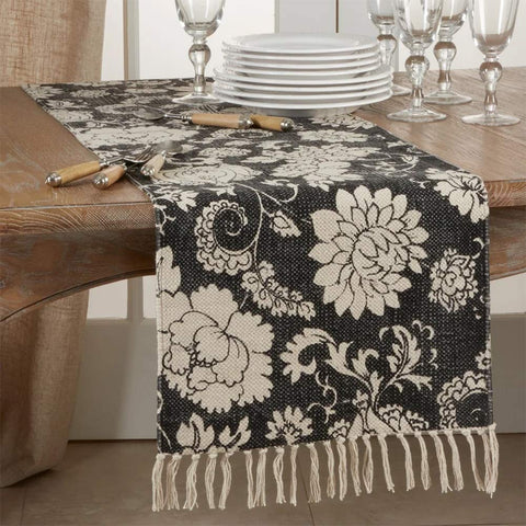 Fennco Styles Fringed Floral Cotton Table Runner 16 x 72 Inch