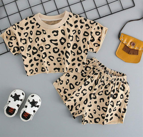 Baby Girl Leopard Print Short Sleeve Cropped T-Shirt and Shorts 2pcs