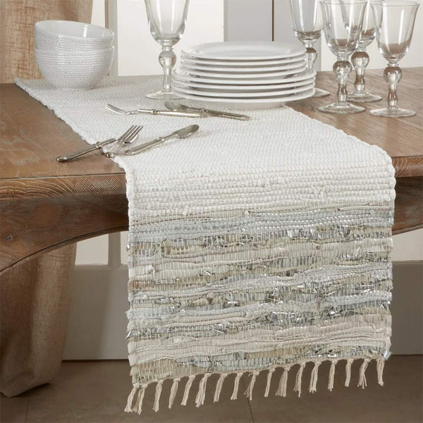 Fennco Styles Silver Striped Leather Chindi Cotton Table Linen Collection with Fringe - Natural Table Cover for Home Décor, Dining Table, Banquets, Holidays and Special Occasions