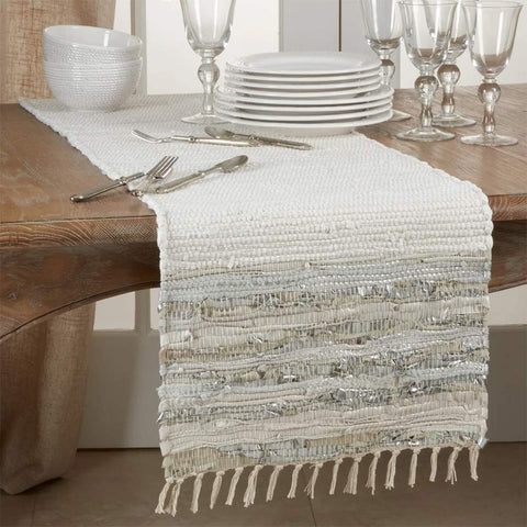 Fennco Styles Silver Striped Leather Chindi Cotton Table Linen Collection with Fringe