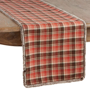 Fennco Styles Tartan Plaid Cotton Table Runner with Faux Fur Trim Design 16 x72 Inch - Rust Table Cover for Home Décor, Dining Table, Banquets, Holiday and Special Events