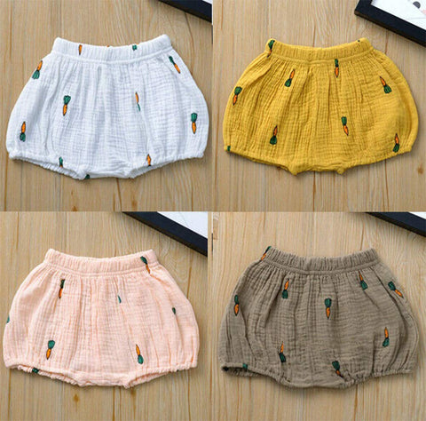 Infant Baby Girl Carrot Crinkle Jersey Bubble Shorts Summer Cotton Bloomers
