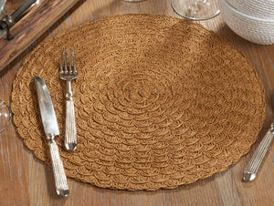 Fennco Styles Natural Design Paper Woven Table Placemats 15 x 15 Round, Set of 4