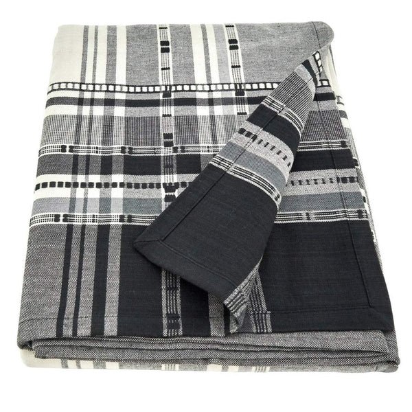 Fennco Styles Neutral Cotton Tablecloth with Plaid Border Design