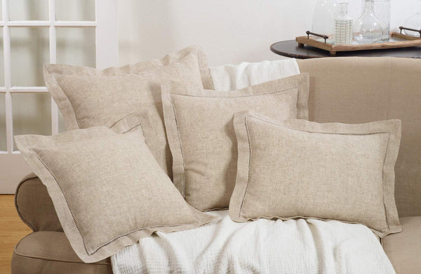 Fennco Styles Classic Hemstitched Linen Blend Solid Color Decorative Throw Pillow